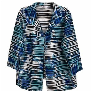 TanJay Beautiful Blue, White & Black Jacket 18W